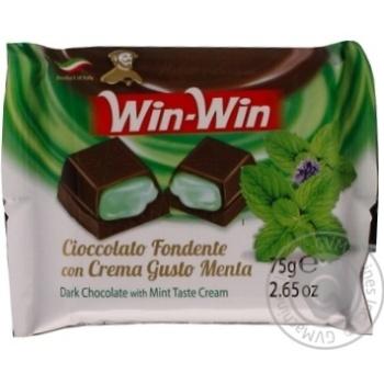 Шоколад Duca degli Abruzzi Win-Win темный с мятным кремом 75г