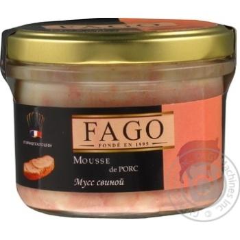 Mousse Fago pork canned 180g glass jar