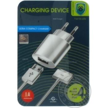 Пристрій зарядний мережевий MSH-TR-071 1USB1A з кабелем для iPhone 4 Білий Global - купить, цены на Novus - фото 1