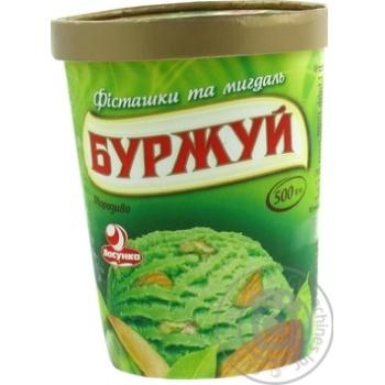 Морозиво Ласунка Буржуй зі смаком фісташки з фісташками та мигдалем у картонній баночці 500г