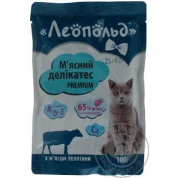 Leopold Meat Delicacy Wet Food for Cats with Veal 100g - buy, prices for Furshet - image 3
