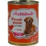 Food Leopold with lamb for dogs 360g can
