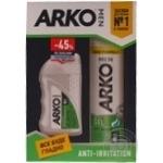 Набір подарунковий ARKO MEN Гель для гоління Anti-Irritation 200мл + бальзам після гоління Anti-Irritation 150мл зі знижкою 45%