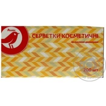 Салфетки Ашан косметические целлюлозные двухслойные 200шт - купить, цены на Ашан - фото 1