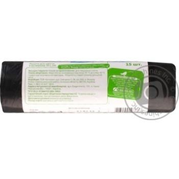 Пакети для мусора Ашан с затяжкой 35л 15шт - купить, цены на Ашан - фото 2