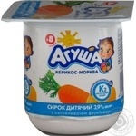Cottage cheese Agusha apricot-carrot for 8+ months babies 3.9%