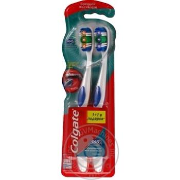 Зубная щетка Colgate 360 Суперчистота всей полости рта  средней жесткости промоупаковка 1+1 - купить, цены на Ашан - фото 5