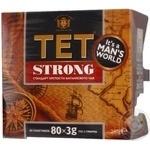 Чай Тет Стронг чорний байховий дрібний в одноразових пакетиках без нитки та ярлику 80*3г