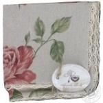 Наволочка декоративна з мережкою Large pink rose 40*40 Прованс