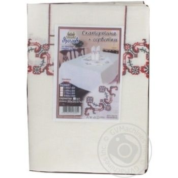 Набір Ярослав скатертина 150*150+4серветки 37*37 льон н/льон вишивка - купить, цены на Novus - фото 1