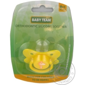Пустышка Baby Team ортодонтическая силик 6+ 3011 шт
