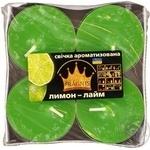 Свічка Джамбо Арома о57*23мм 4 шт Pragnis лимон лайм JMBA-LLM