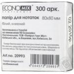 Папір для нотаток EconoMix білий клеєний 80X80мм