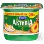 Бифидойогурт Данон Активиа персик-мюсли 3% 140г пластиковый стакан Украина