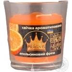 Свеча Pragnis в стакане апельсиновый фреш 79х83мм