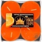Свічка Джамбо Арома о57*23мм 4 шт Pragnis апельсин JMBA-ORF - купить, цены на Novus - фото 1