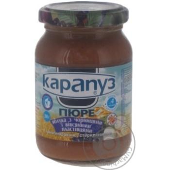 Скидка на Пюре Карапуз яблоки с черникой и овсяными хлопьями детское с 4 месяцев 200г