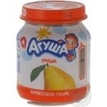 Puree Agusha Pear without sugar for 4+ month old babies glass jar 115g Russia
