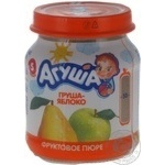 Fruit puree Agusha pear-apple for 5+ month babies glass jar 115g Russia