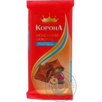 Шоколад Корона молочный с изюмом и лесными орехами 90г