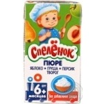 Puree Spelenok Apple-pear-peach with cottage cheese without sugar for 6+ month old babies tetra pak 125ml Russia