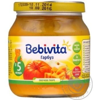 Пюре овощное Бебивита Тыква без соли для детей с 5 месяцев 100г