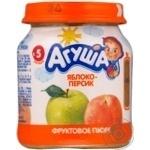 Пюре Агуша фруктовое яблоко-персик для детей с 6 месяцев стеклянная банка 115г Россия
