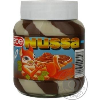 Скидка на Крем Nussa Duo шоколадный с орехами 400г стеклянная банка Германия