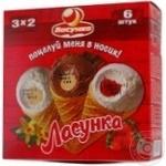 Мороженое Лакомка рожок ассорти 60г х 6шт Украина