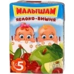 Sterilized nectar Malysham apple and cherry for children from 5+ months tetra pak 200ml Russia