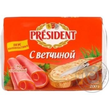 Скидка на Сыр Президент плавленый с ветчиной 45% 200г Россия