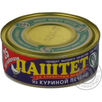 Паштет Опк из куриной печени со сливочным маслом 240г железная банка Украина