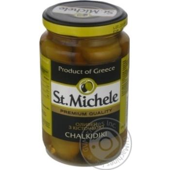 Оливки зеленые St.Michele с косточкой 355г - купить, цены на Novus - фото 1