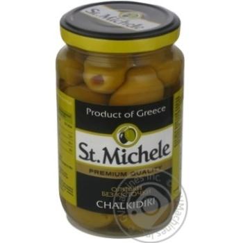 Оливки зелені без кісточки сорт Халкідікі St.Michele склобанка 360г - купить, цены на Novus - фото 1