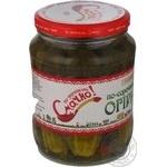 Овочі огірки По-українськи смачно консервована 660г