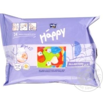 Салфетки влажные Happy для детей с витамином Е 24 шт