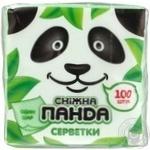 Салфетки Сніжна панда 1слой зеленые 24х24см 100шт/уп