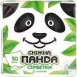 Серветки паперові Сніжна панда 50шт 24*24 білі 2 шар.