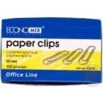 EconoMix Round Paper Clips 55mm 100pcs
