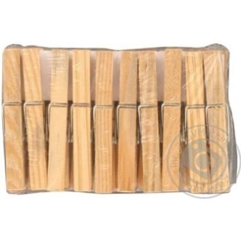 Прищіпки York дерев'яні 72мм 20шт - купити, ціни на Фуршет - фото 2