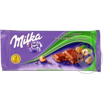 Шоколад молочный Милка с лесным орехом и с добавлением альпийского молока 90г плиточный Украина