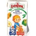 Сок Спелёнок яблоко-груша детский восстановленный гомогенизированный стерилизованный без сахара с 5 месяцев тетрапакет 125мл Россия