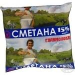 Сметана Главмолоко 15% 400г плівка Україна