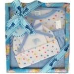 Набір дитячий Montaly комбінезон,шапка,штани,нагрудник,пінетки,гребінець 2шт 0-3міс.голубий 712FR071A