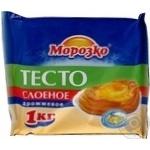 Тесто Морозко слоено-дрожжевое замороженное 1кг Россия