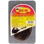 Оливки Рем маринованные черные с косточкой 250г Турция