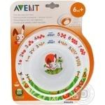 Тарілки дитячі Avent глибока велика та мала із розвиваючими малюнками для малюків від 6 місяців
