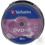Диск DVD+R Verbatim 4.7Gb 16x cake10 43498 шт