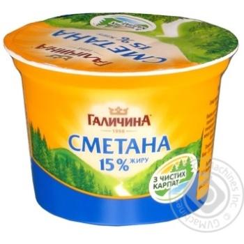 Сметана Галичина 15% 200г пластиковый стакан Украина