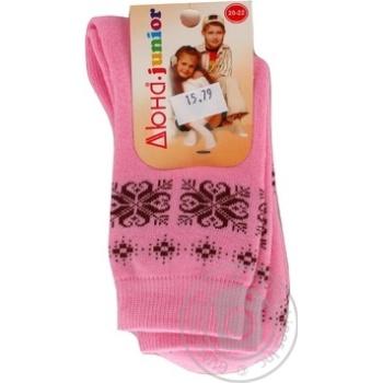 Шкарпетки дитячі зимові Дюна р.20-22 рожевий 12В 417